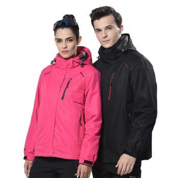 雷宾迪冬季新款户外冲锋衣男防水外贸大码三合一两件套女60963
