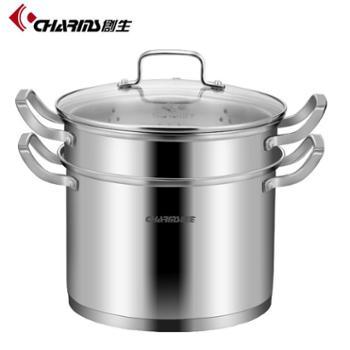 创生(CHARMS) 创生欧式多用锅蒸锅汤锅304不锈钢复底单层加厚24cm型号24-JCC09