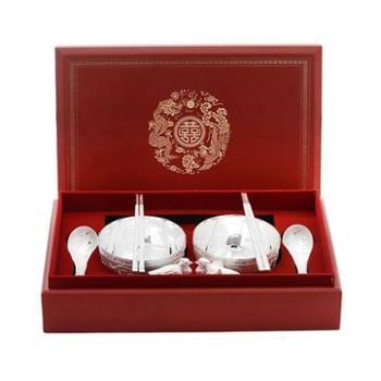 福恒金 足银碗筷勺 银餐具八件套装