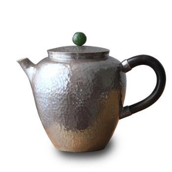 鹤川造物 银壶纯银烧水壶一张打纯手工泡茶壶隔热木柄小银壶