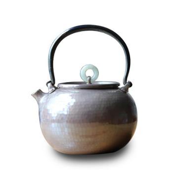 银壶纯银烧水壶【二款色可选】手工口打出铁提梁家用茶道一体小银壶玉盖纽
