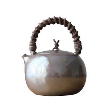 鹤川造物 银壶纯银烧水壶日本纯手工云南一张打侧柄家用茶道泡茶壶