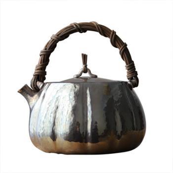 鹤川造物银壶纯银烧水壶一张打纯手工家用瓜形藤提梁壶