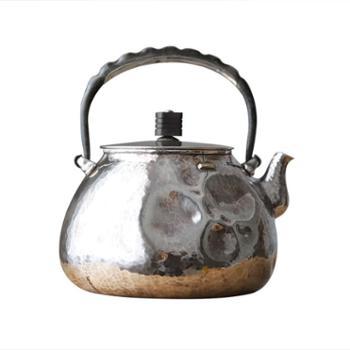 鹤川造物银壶纯银烧水壶纯手工日本茶道变形补丁铁提梁煮水壶