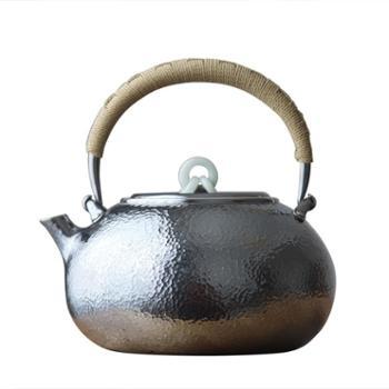 鹤川造物银壶纯银烧水壶纯手工日本银壶茶道家用一张打银壶