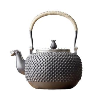 鹤川造物银壶纯银烧水壶手工霰打柳钉银壶日式铆钉茶具家用