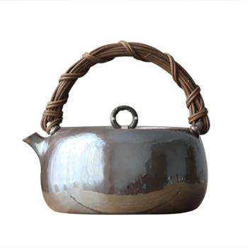 鹤川造物银壶纯银烧水壶藤提梁隔热纯手工一体壶 茶道家用