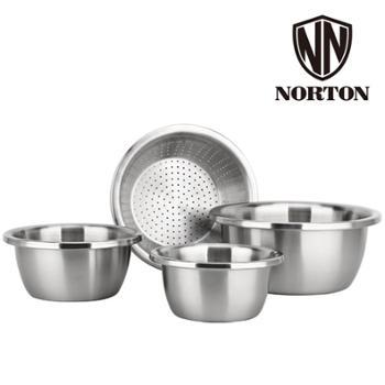 诺顿腾宝家用料理盆4件套装5GTB004家用304不锈钢调料盆沙拉碗面盆米筛汤盆