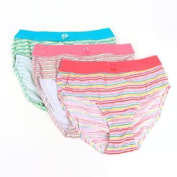 全棉女三角内裤3条装 宽筋中高腰学生生理短裤透气吸汗HD1602