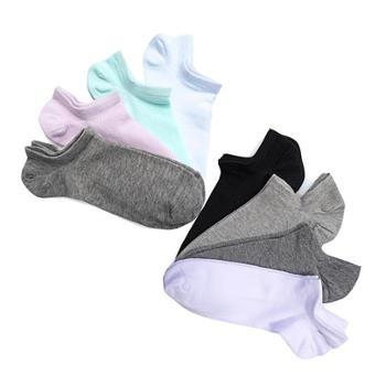 洁丽雅男士船袜2盒10双装 送5双女袜 情侣素色男女棉质休闲浅口袜