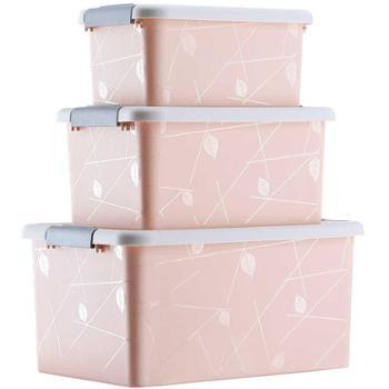 傲家收纳箱3件套有盖塑料收纳盒