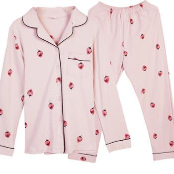 苏吉思睡衣女秋长袖家居服韩版草莓甜美全棉家居服套装