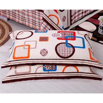 锦华家纺纯棉枕套一对装全棉平纹印花枕套单人双人学生枕头套
