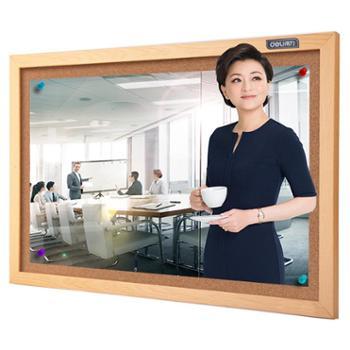 得力(deli)8762 60*40cm软木板/留言板/照片墙(木边框、针插留言)