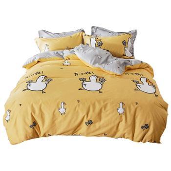 花花公子ins卡通床上四件套全棉被套网红款床单人宿舍三件套夏季