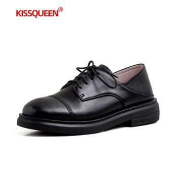 自由绽放KISSQUEEN新款平跟女皮鞋轻软鞋底透气内里柔软牛皮女鞋休闲鞋2169