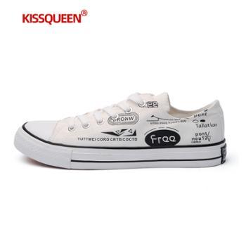 自由绽放KISSQUEEN新男款低帮鞋帆布小白鞋板鞋男休闲鞋805