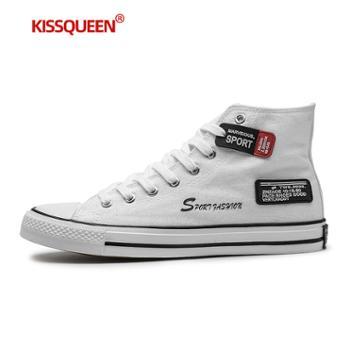 自由绽放KISSQUEEN新男款中帮帆布鞋板鞋男休闲鞋2020