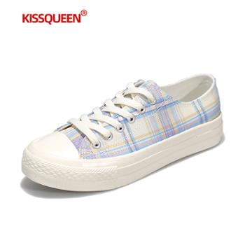 自由绽放KISSQUEEN新款女休闲鞋板鞋低帮帆布格子小白鞋CQ3601