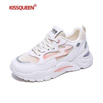 自由绽放KISSQUEEN新款女休闲运动鞋透气增高老爹女鞋811-1