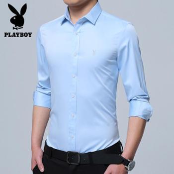 花花公子立领衬衫男长袖春商务青年纯色立领圆领衬衣SY0136