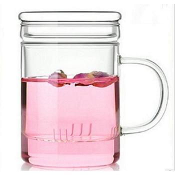 耐热玻璃杯带盖过滤杯花茶平盖泡茶办公杯