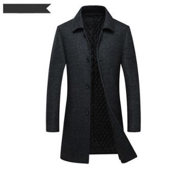 Aeroline冬季新款中老年男士羊绒大衣翻领爸爸装加厚羊毛外套中长款