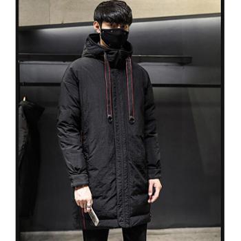 Aeroline冬季新款韩版加厚男士羽绒服连帽中长款过膝白鸭绒保暖外套