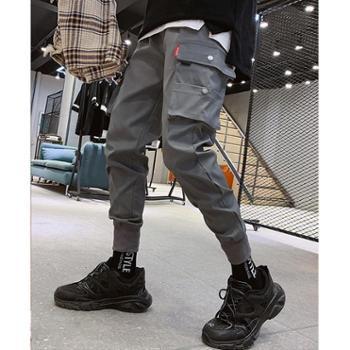 Aeroline松紧腰9分裤男士个性修身多口袋休闲裤男式工装裤