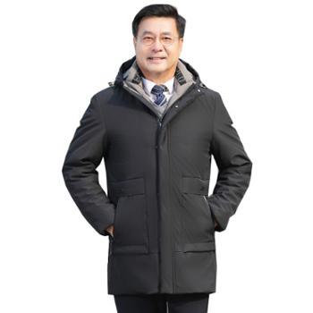 柏誉/Aeroline 男士羽绒服 冬装中老年中长款加厚保暖爷爷装防寒外套