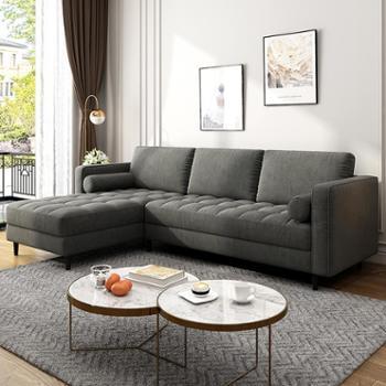沙发小户型复古轻奢组合可拆洗三人位松木框架布艺沙发