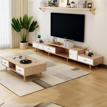 北欧茶几电视柜客厅组装可伸缩茶桌储物地柜小户型家具