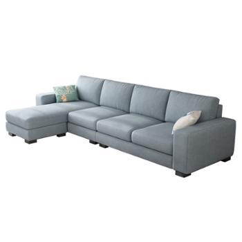 科莱斯克现代简约四人位三人位一字直排小户型可拆洗整装沙发