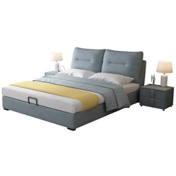 科莱斯克北欧现代简约布艺床可拆洗松木框架1.8米双人实木婚床