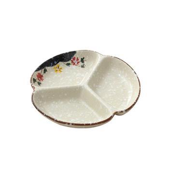 佰润居日式陶瓷三格盘餐具多格盘创意小菜盘子家用厨具圆盘分格餐盘菜盘