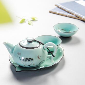 聚森高档旅行陶瓷茶具快客杯一壶二杯