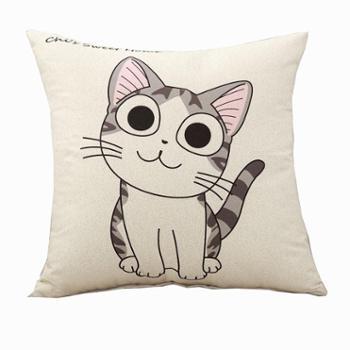 普马狮萌萌猫印花卡通抱枕40×40cm