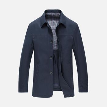 G-RIVER大江大河宽松直筒男士休闲夹克衫外套大码男装中年爸爸装复古纽扣