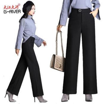 大江大河/G-RIVER羊毛呢女裤子舒适阔腿裤中腰阔腿裤拉长身材比例