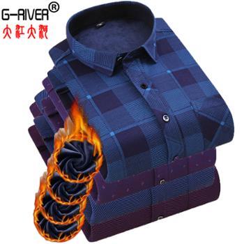 大江大河/G-RIVER加厚加绒保暖衬衫男长袖格纹净面均有