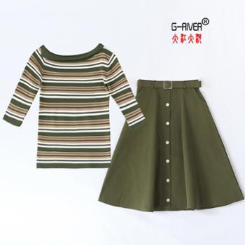 大江大河/G-RIVER针织条纹上连衣裙两件套针织面料CPYY1886