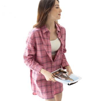 大江大河/G-RIVER全棉格纹女式百搭中长款衬衫长短袖自由切换均码