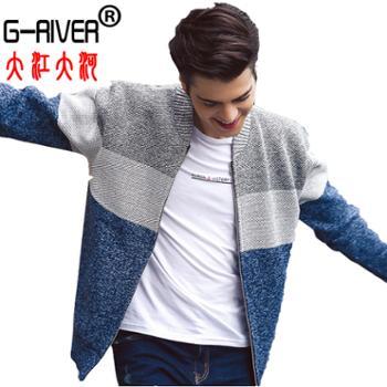 大江大河/G-RIVER时尚撞色棒球领男卫衣加绒保暖毛衣