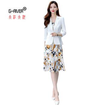 大江大河/G-RIVER印花连衣裙西服两件套印花长裙、小西服M-XXXL
