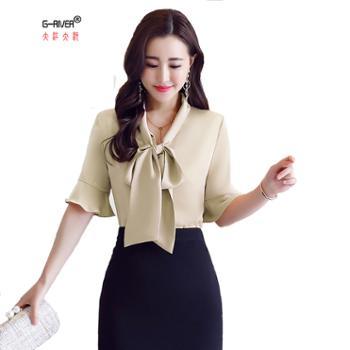 大江大河/G-RIVER女士时尚短袖舒适衬衫隐藏赘肉M-2L