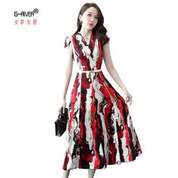 大江大河/G-RIVER女式雪纺修身连衣裙送腰带V领水墨画M-2L