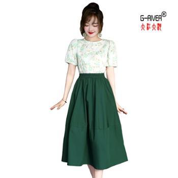 大江大河/G-RIVER女士时尚两件套碎花裙子棉质面料M-2L