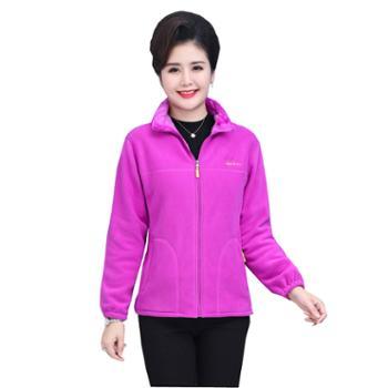 百旅Bailv妈妈装韩版立领厚款外套女常规款修身简约摇粒绒上衣