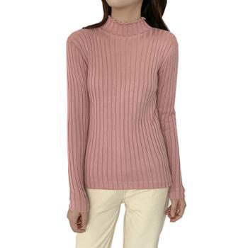 百旅Bailv加厚加绒半高领毛衣打底衫显瘦保暖纯色针织衫上衣