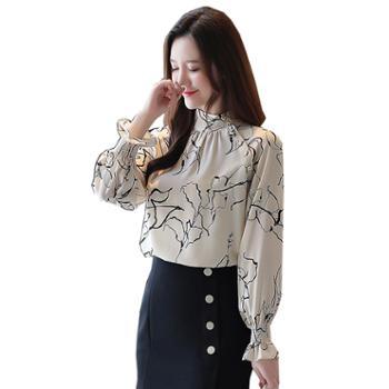 百旅Bailv雪纺衫女衬衫设计感小众时尚百搭上衣洋气长袖气质小衫